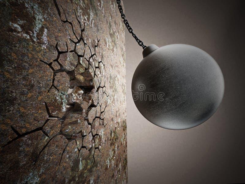 Rujnujący piłkę wyburza starą ścianę ilustracja 3 d ilustracja wektor