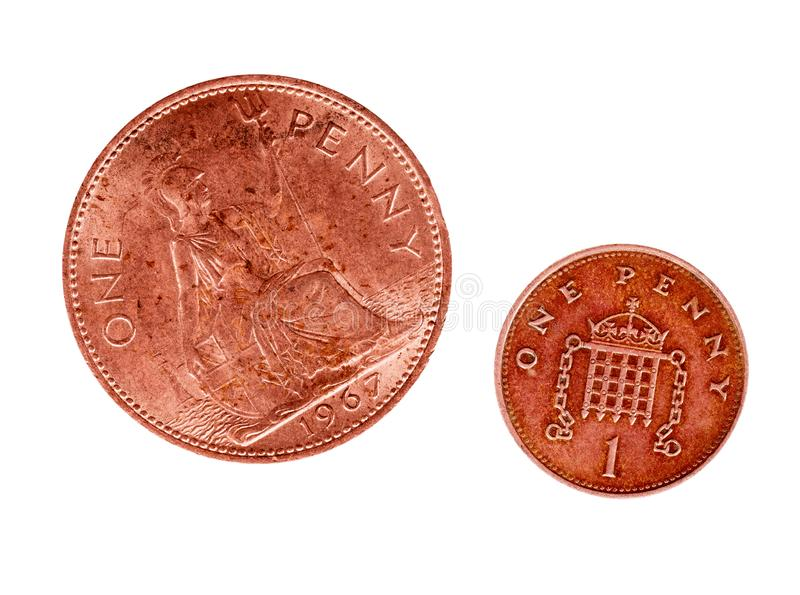 From Rule Britannia to a Portcullis defence object. UK old and new penny coins. Isolated on white background. Maybe royalty free stock photography