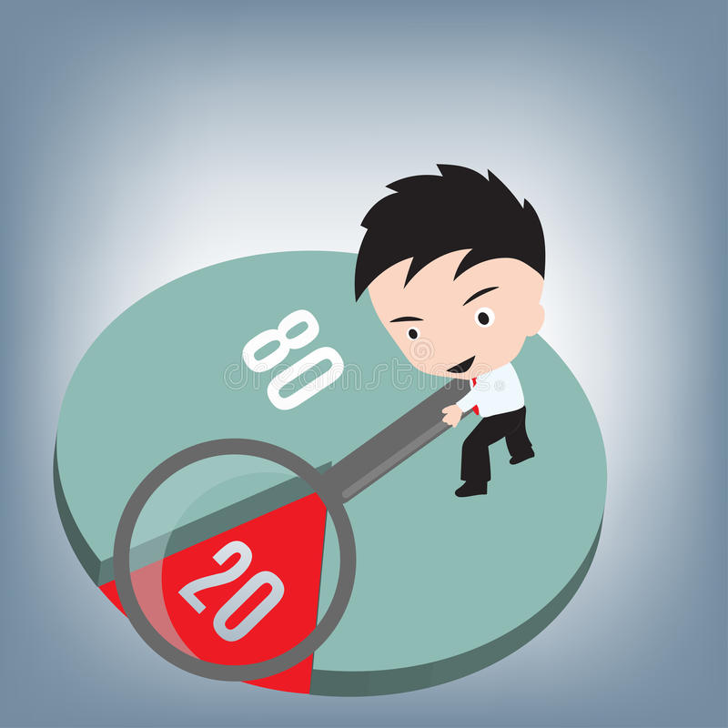 80 20 rule, Business man holding magnifier on pareto graph, vector illustration in flat design royalty free illustration