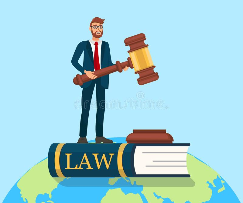 Rule of Law Metaphor Flat Vector Illustration. Male Lawyer Holding Huge Wooden Gavel. Legal Advisor, Juror, Barrister Standing on Law Book. Equal Rights stock illustration