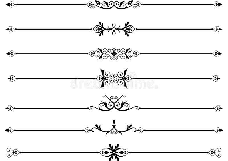 Rule lines with scrolls stock illustration