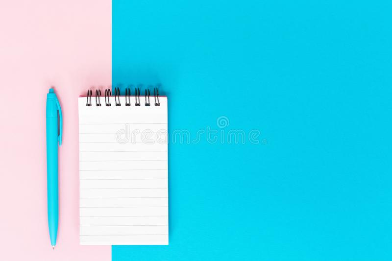 Ruled notebook office and school white and blue stationery stock image