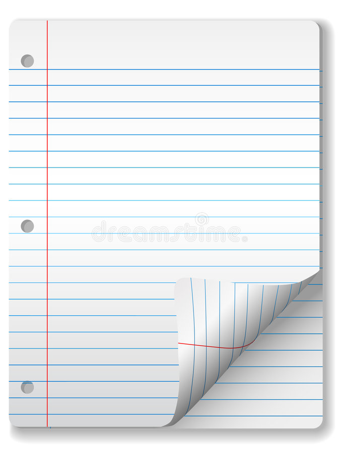 Ruled Notebook Paper Page Curl royalty free illustration