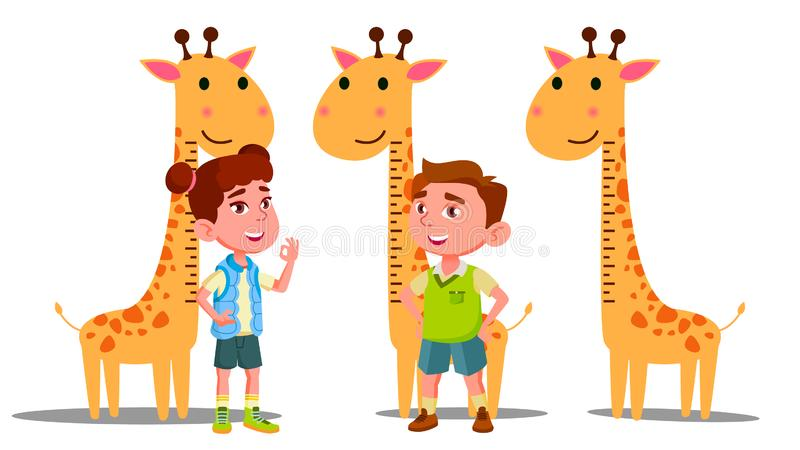 Ruler Baby Height Giraffe Vector. Boy, Girl. Isolated Flat Cartoon Illustration. Ruler Baby Height Giraffe Vector. Boy, Girl. Isolated Cartoon Illustration stock illustration
