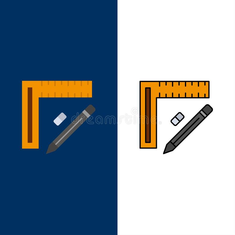 Ruler, Construction, Pencil, Repair, Design  Icons. Flat and Line Filled Icon Set Vector Blue Background vector illustration