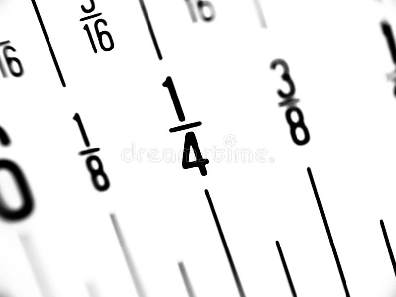 Ruler in Fractions of Inches. Super-macro of ruler displaying inches as fractions royalty free stock photography