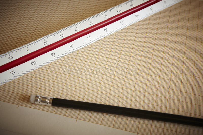 Ruler and pencil with graph paper. Horizontal composition royalty free stock photography