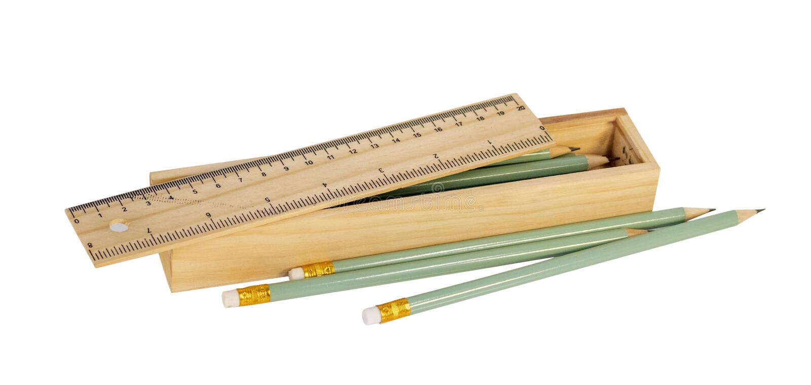 Ruler and pencils royalty free stock photos