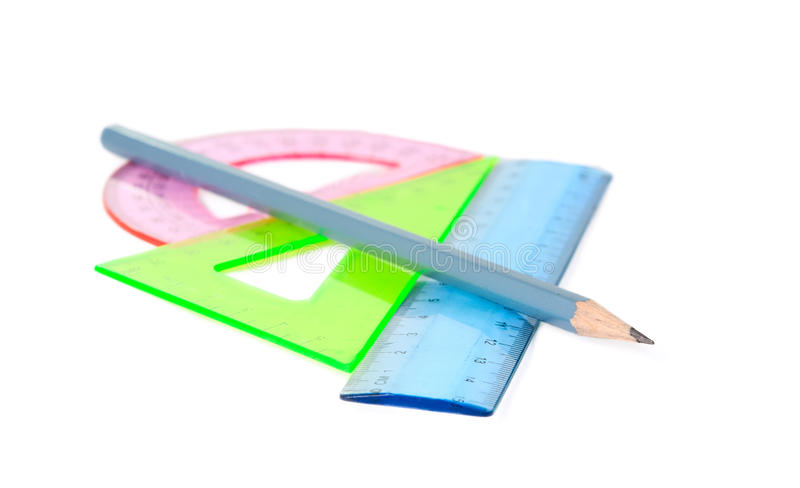 Ruler, protractor, triangle stock images