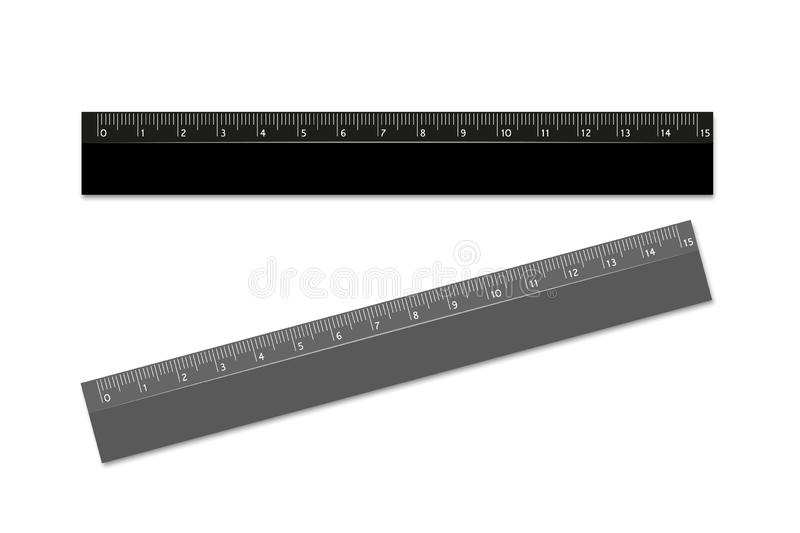 Ruler, school black and gray. Realistic effect. Subject for drawing or geometry. Vector design element. Eps royalty free illustration