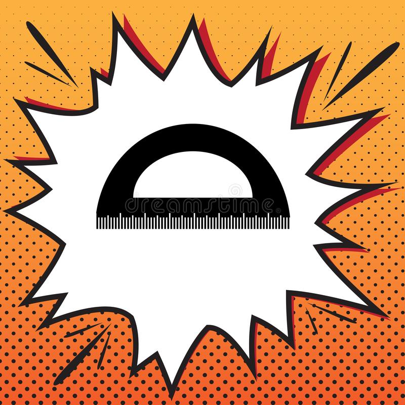 Ruler sign illustration. Vector. Comics style icon on pop-art ba stock image