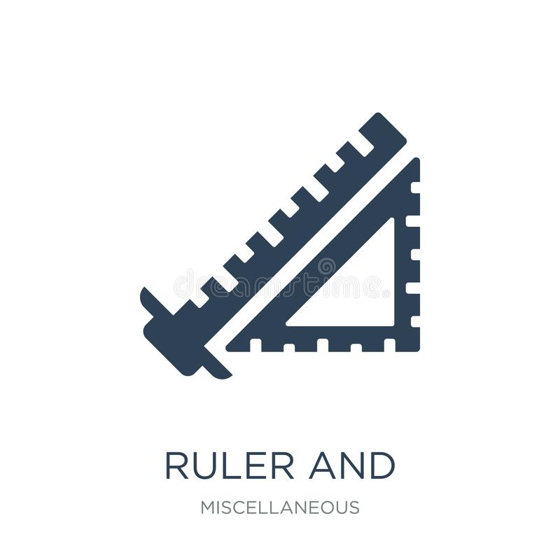 ruler and square measuring tools icon in trendy design style. ruler and square measuring tools icon isolated on white background. vector illustration