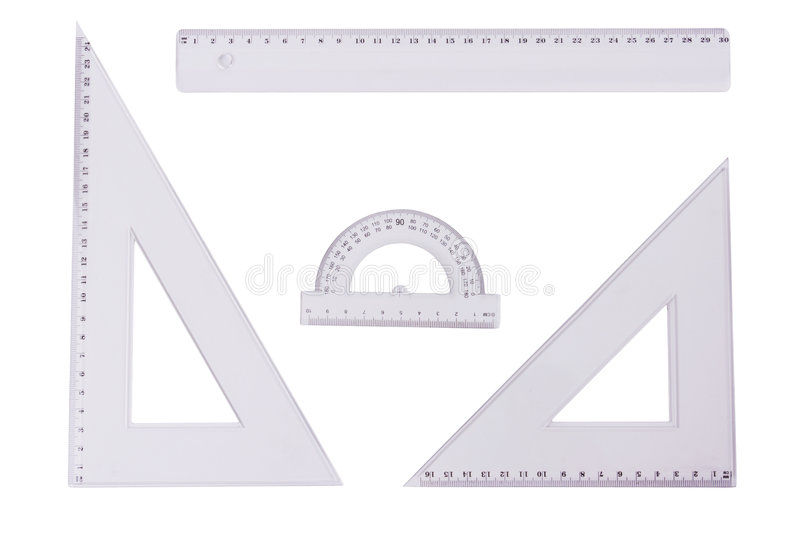 Ruler, squares and a protactor. On a white background stock photos