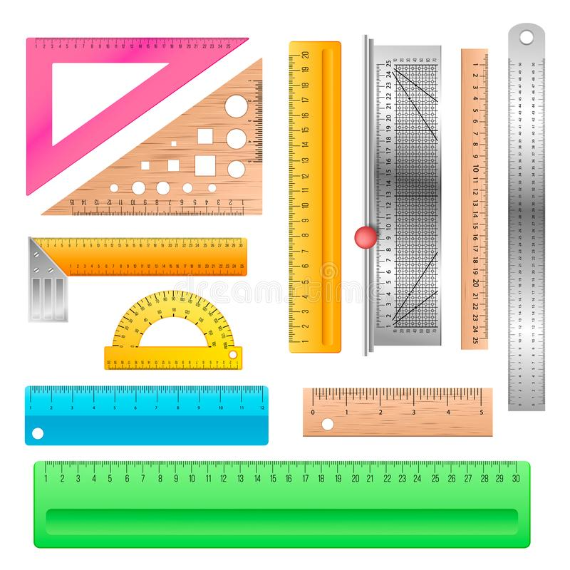 Ruler vector school stationery maths measurement scale tool to measure length illustration protractor angle equipment. Line instrument set of education vector illustration