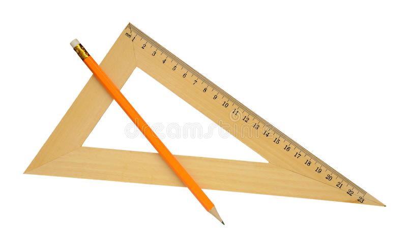 Ruler and yellow pencil. stock photo