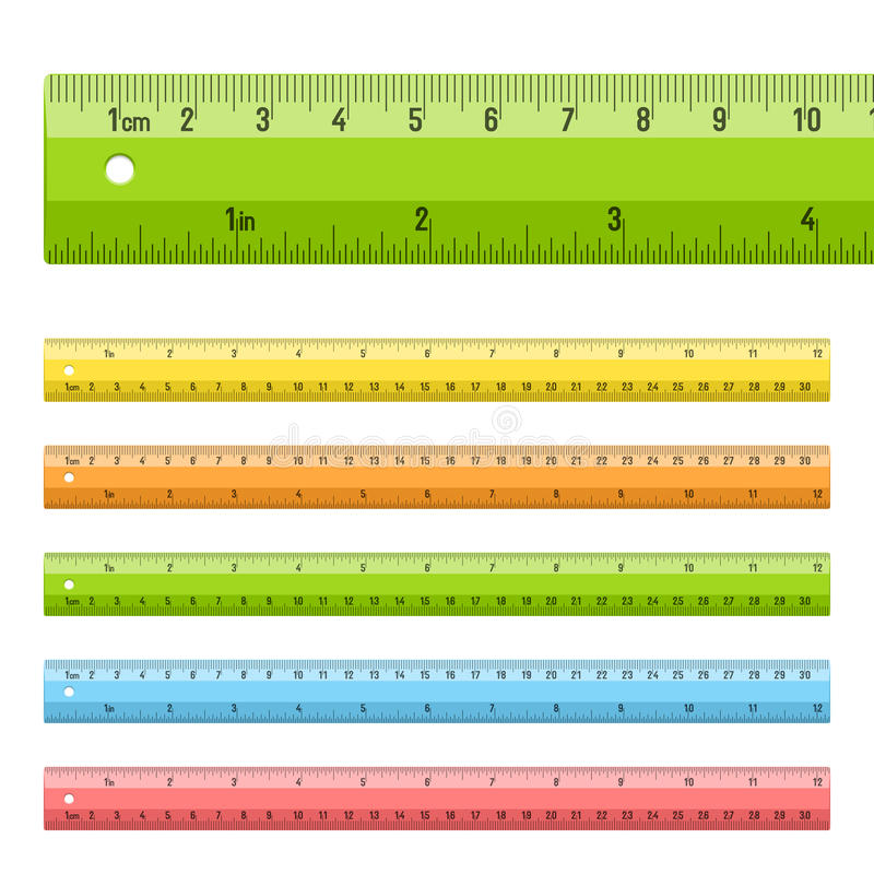 Rulers in centimeters and inches royalty free illustration