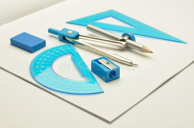Rulers, compasses, eraser with sharpener for noteb
