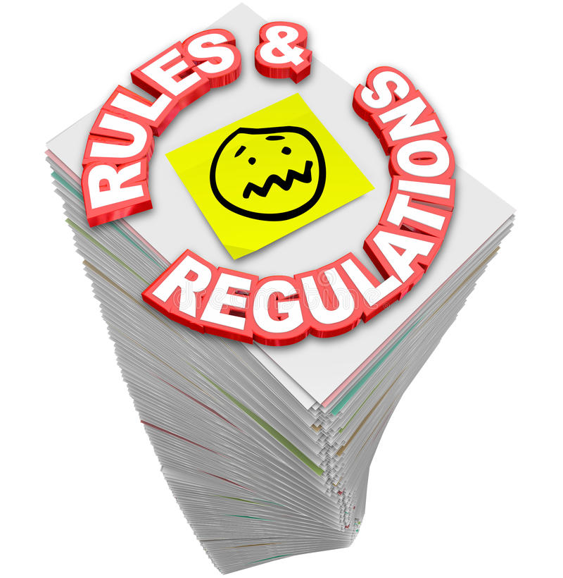 Rules Regulations Paperwork Stack Pile Endless Laws Guidelines F stock illustration