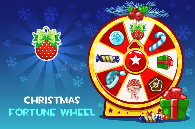 Ruleta afortunada de la Navidad de la historieta, rueda de giro de la fortuna Iconos de los símbolos del día de fiesta del vector libre illustration