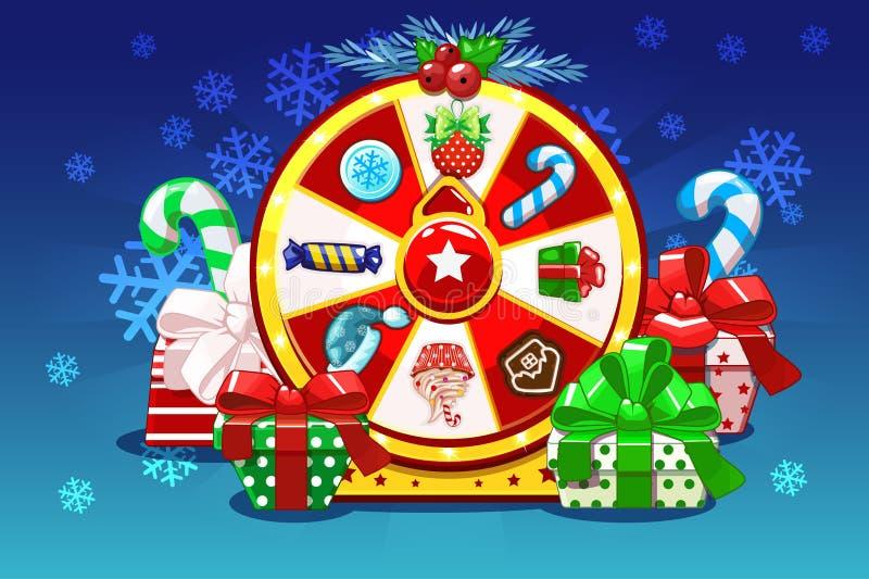 Ruleta afortunada de la Navidad de la historieta, rueda de giro de la fortuna Iconos y regalos, ejemplo del día de fiesta del vec stock de ilustración