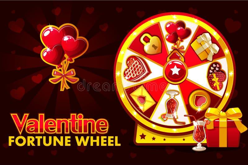 Ruleta afortunada de la tarjeta del día de San Valentín del St de la historieta, rueda de giro de la fortuna Iconos y símbolos, e stock de ilustración
