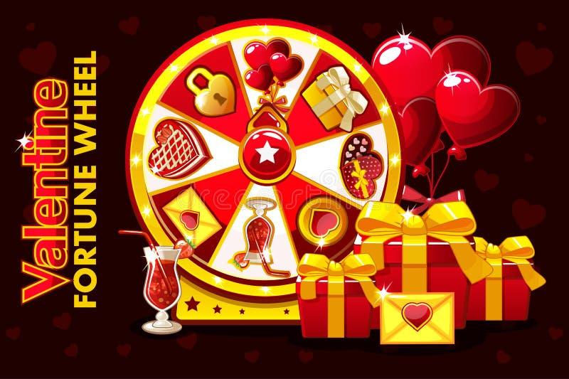 Ruleta afortunada de la tarjeta del día de San Valentín del St de la historieta, rueda de giro de la fortuna Iconos y símbolos de libre illustration