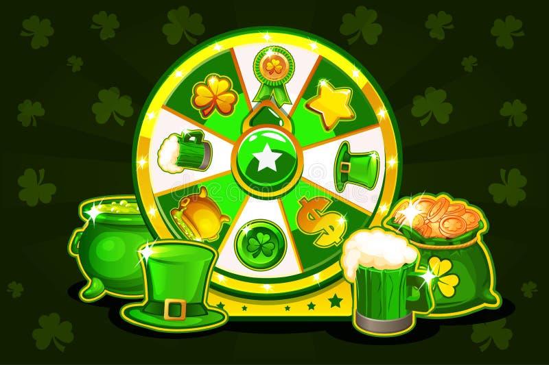Ruleta afortunada de Patrick s de la historieta, rueda de giro de la fortuna Iconos y símbolos, ejemplo del día de fiesta del vec ilustración del vector