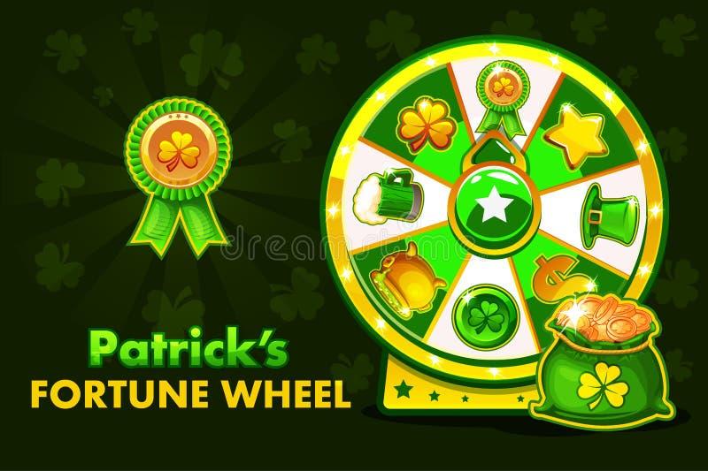 Ruleta afortunada de Patrick s de la historieta, rueda de giro de la fortuna Iconos y símbolos, ejemplo del día de fiesta del vec stock de ilustración