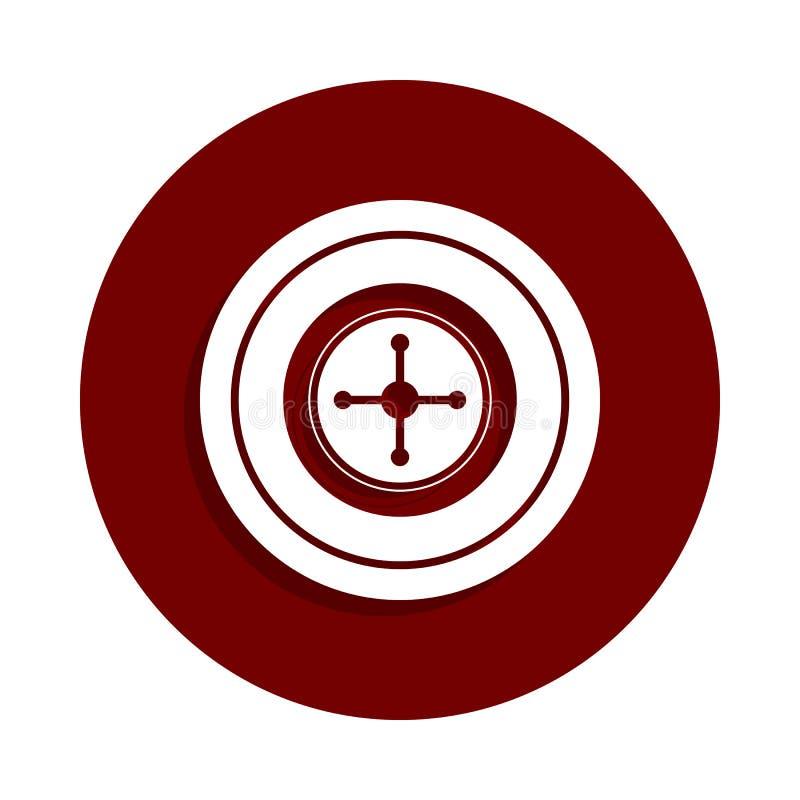 Ruleta w kasynowej ikonie w odznaka stylu Jeden kasynowa inkasowa ikona może używać dla UI UX ilustracja wektor