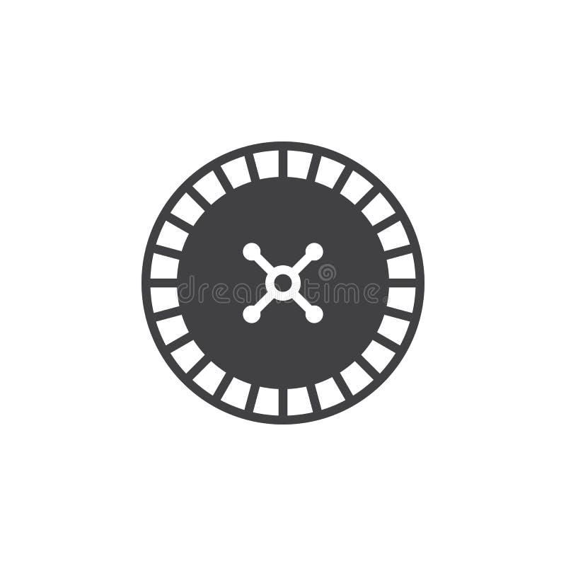 Ruletowego koła ikony wektor, wypełniający mieszkanie znak, bryła royalty ilustracja