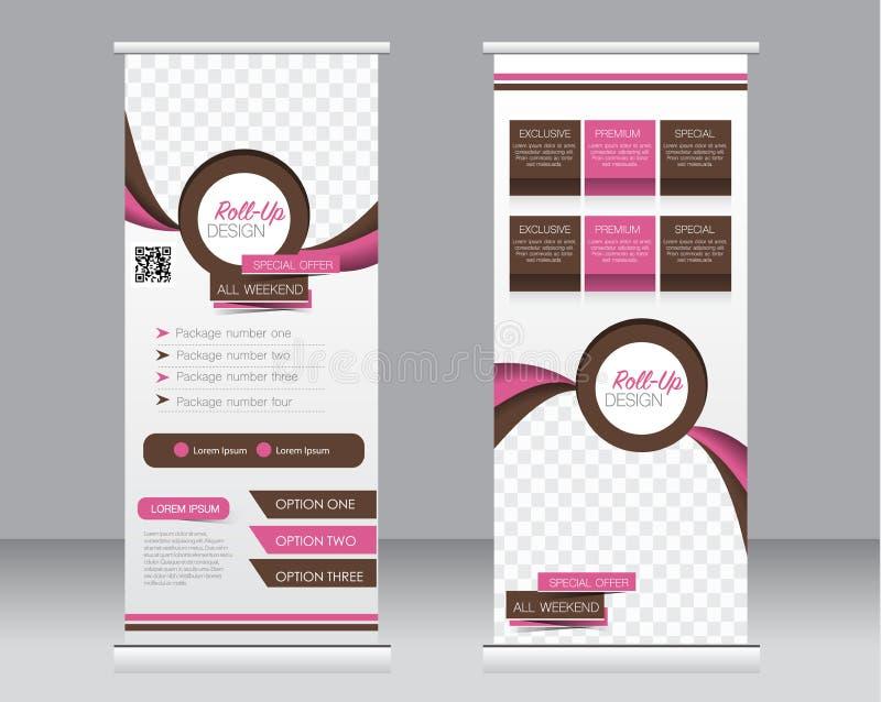 Rulla upp banerställningsmallen Abstrakt bakgrund för designen, affär, utbildning, annonsering vektor illustrationer