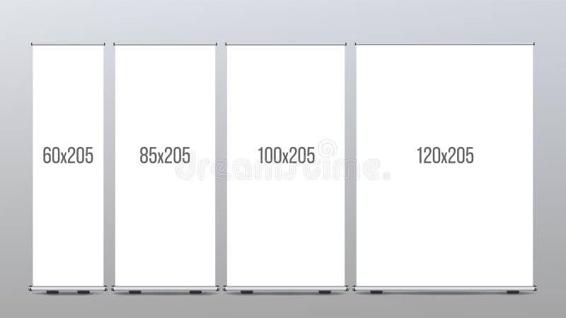 Rulla upp banerställningsvektorn presentationen för begreppet för bakgrund 3d isolerade framförde illustrationen white Vertikal s stock illustrationer