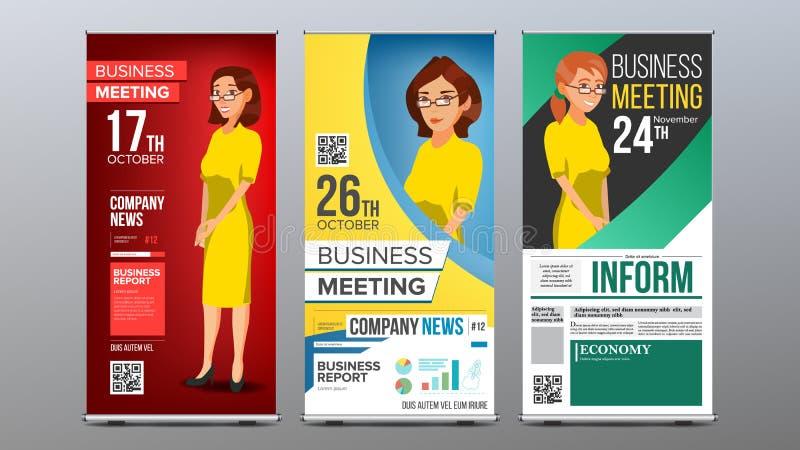 Rulla upp den fastställda vektorn för banret Vertikal affischtavlamall 2 business woman Expo presentation, festival För företags stock illustrationer