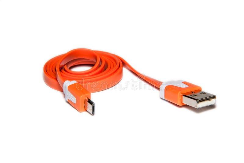 Rullad ihop USB-kabel royaltyfria foton