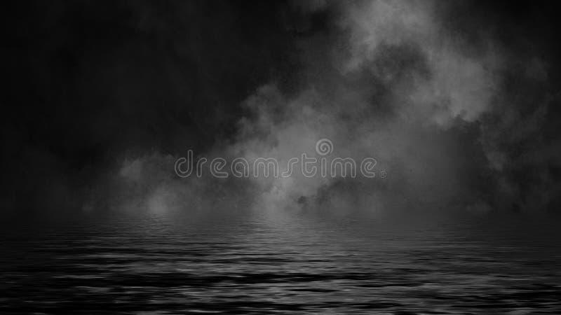 Rullande b?ljor av r?kmistmoln fr?n torr is ?ver det nedersta ljuset med reflexion i vatten vektor f?r bild f?r designelementillu fotografering för bildbyråer