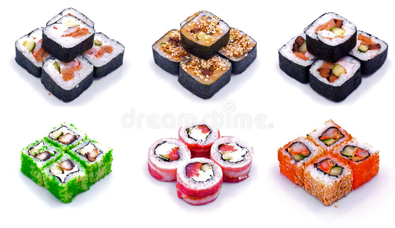 rullande set sushi royaltyfri illustrationer