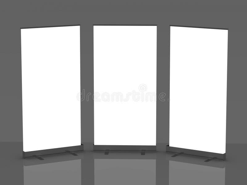 rullar blank skärm för banret upp stock illustrationer