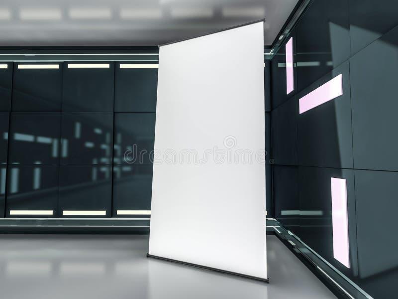 rullar blank skärm för banret upp Mallmodell 3d royaltyfri illustrationer