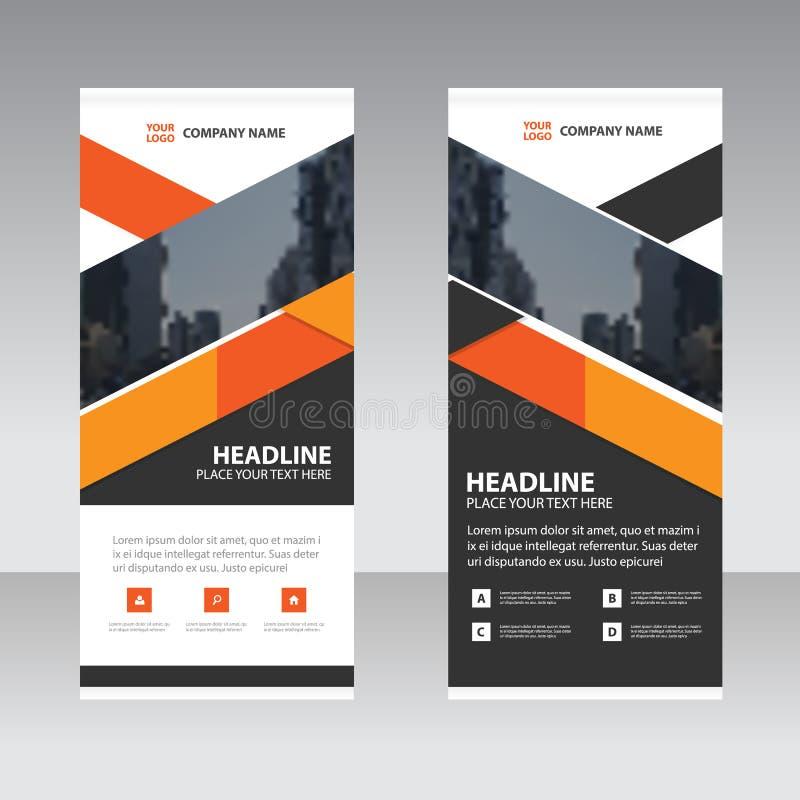 Rullar den svarta triangelaffären för apelsinen upp mallen för banerlägenhetdesignen royaltyfri illustrationer