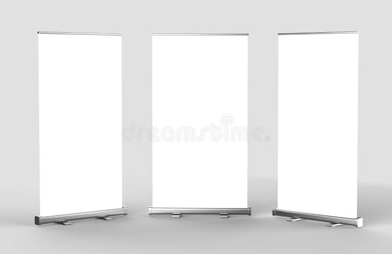 Rullar den tomma tomma höga upplösningsaffären för vit upp och åtlöje för Standeebanerskärm upp mallen för din designpresentation royaltyfri illustrationer