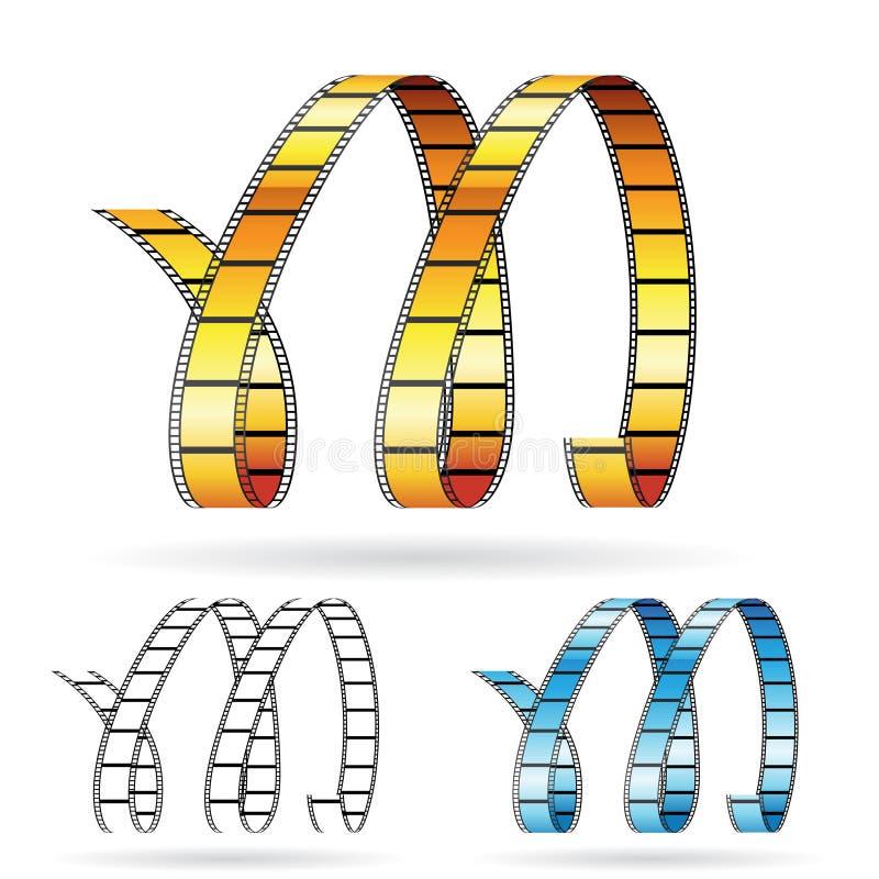 rullar för bildande bokstav M för film royaltyfri illustrationer