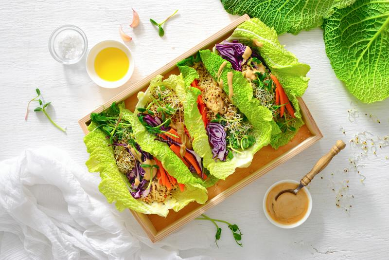 Rullar för strikt vegetariandetoxvår med quinoaen, groddar och thailändsk jordnöt sa arkivbild