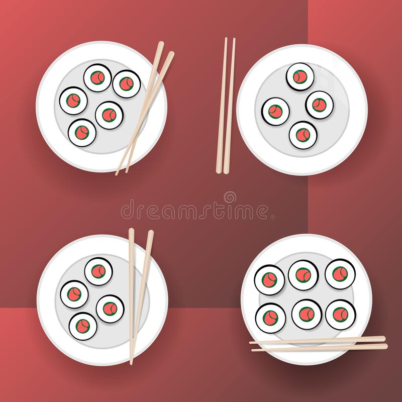 rullar sushi royaltyfri illustrationer