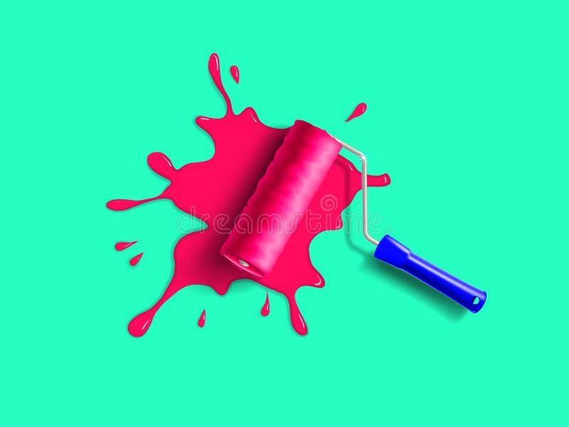 Rullborstefärgstänk stock illustrationer
