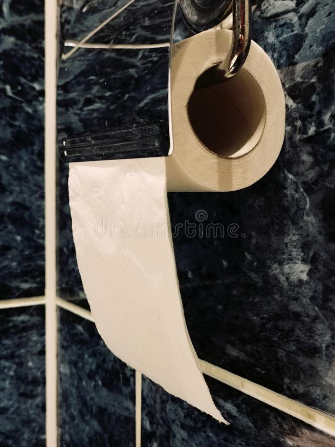 Rulle av att h?nga f?r toalettpapper p? toaletth?llaren royaltyfria foton