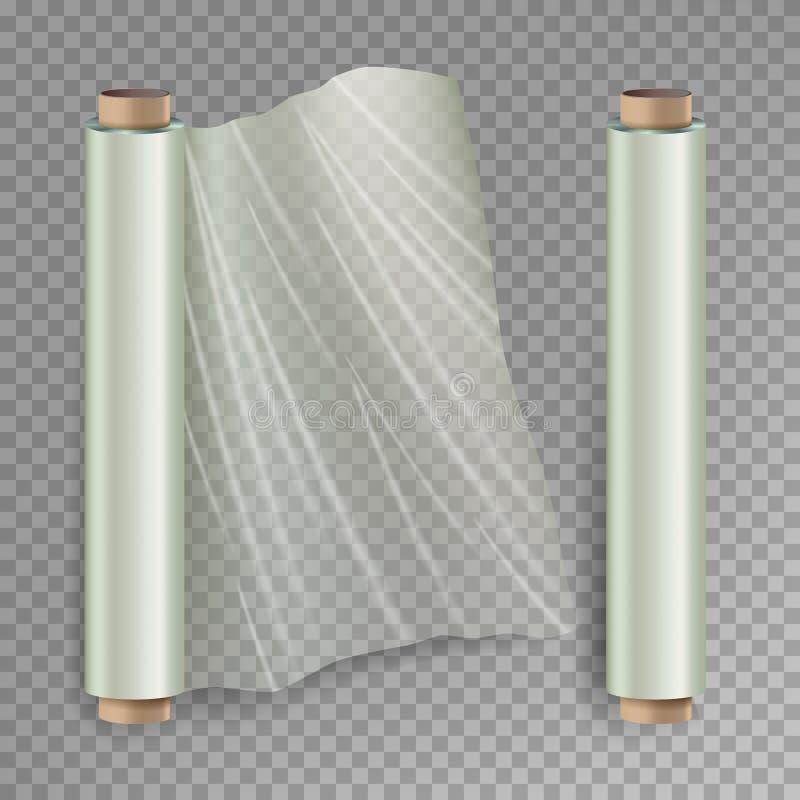 Rulle av inpackning av vektorn för elasticitetsfilm Öppnat och stängt förpacka för polymer Cellofan plast- sjal På stock illustrationer