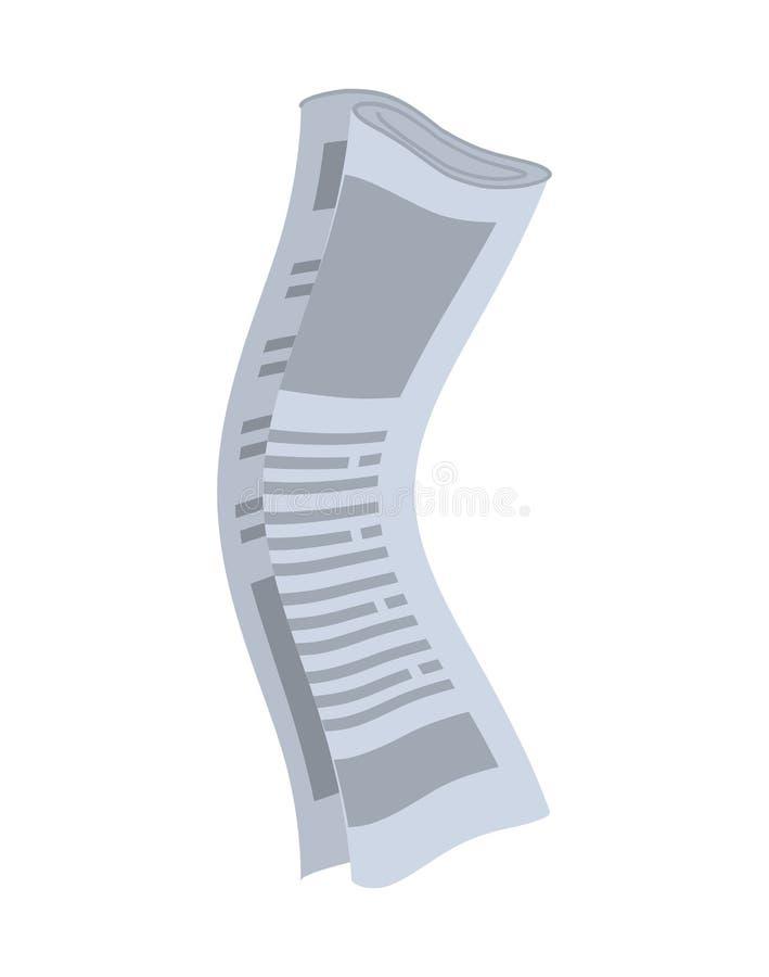 Rulle av isolerade tidningar Rullande av publikationer på vitbac royaltyfri illustrationer