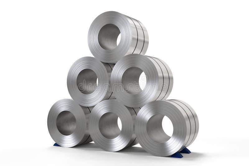 Rulle av stålarket i fabrik arkivbild
