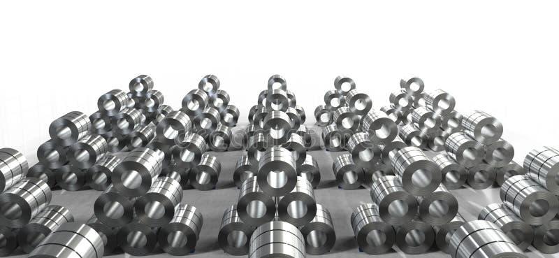 Rulle av stålarket i fabrik royaltyfri illustrationer