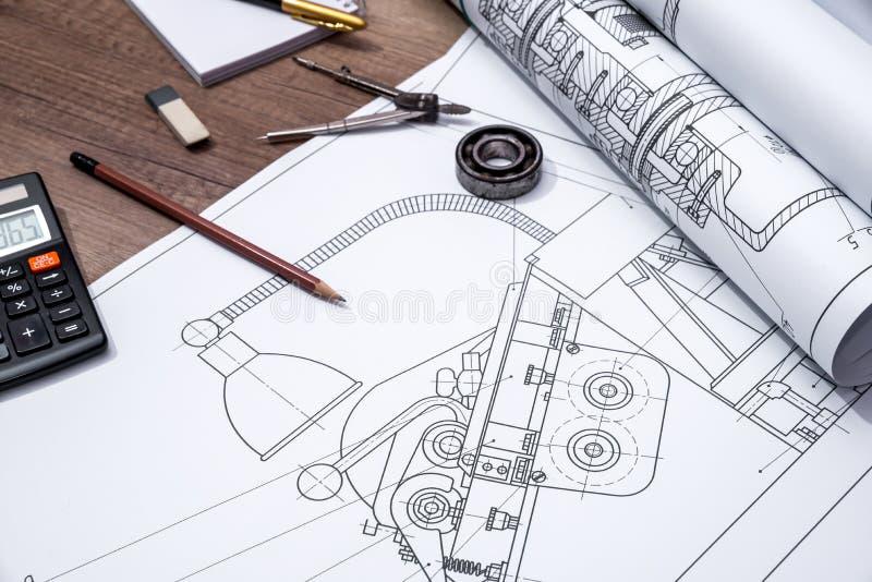 Rulle av teckningsplan arkivbild
